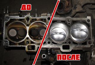 Блок цилиндра до и после ремонта